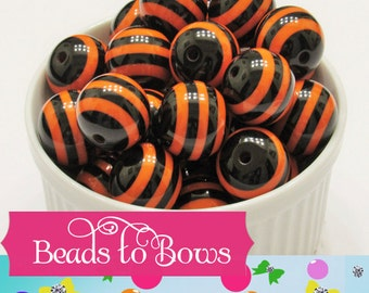 SALE 20mm Orange & Black Striped Bubblegum Beads, Chunky Resin Striped Gumball Beads, Chunky Necklace Beads, Jewelry Supply, Bubble Gum Bead
