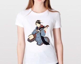 KillerBeeMoto: Kitao Shigemasa Geisha Playing  Her Shamisen Short & Long Sleeve T-Shirt