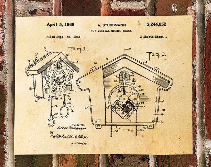 KillerBeeMoto: Duplicate of Original U.S. Patent Drawing For Vintage Cuckoo Clock