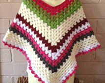 crochet ponchos, Granny square,  girls poncho, knitted ponchos, kid's clothing, crochet top, kidswear, childrens clothes, sweater, clothing