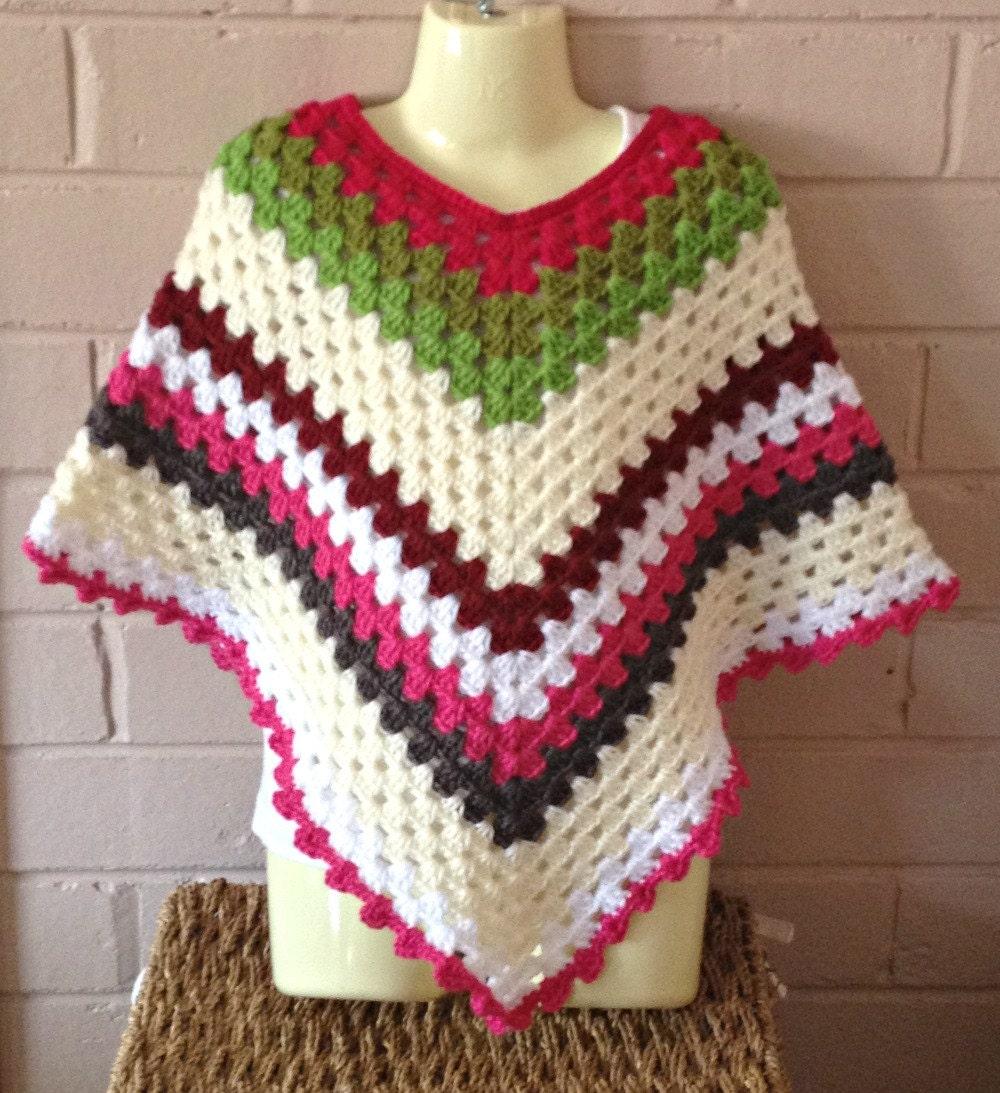 Crochet Patterns For Granny Square Poncho : crochet Mexican poncho poncho Granny square girls poncho
