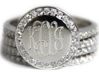 Sterling Silver Monogram Ring, Engraved Ring, Monogram Stackable Ring