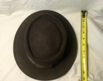 Mens vintage Stetson Royal De Luxe brown wool felt hat fedora sz small