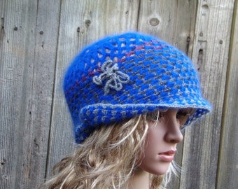 MOHAIR BLUE BEANIE Women Crochet Hand Knitted Ladies Beanie Hat Womens Slouchy Beanie Slouch Hats Oversized Baggy cabled Womens Accessory