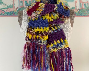 Handmade Crochet Scarf, Scrappy, Pink, Purple, Yellow, Eco-Friendly, Chunky Scarf, Thick, Boho