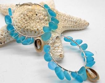 Aqua Blue Sea Glass and Cowrie Shell Hoop Earrings - Hawaii, Tropical Jewelry, Sea Glass, Beach Glass, Beach Wedding, Hoop Earring,