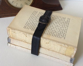 Vintage Book Bundle for Him. Decorative ephemera, desk décor, distressed shabby, coverless book stack, weathered pages bound w. leather belt
