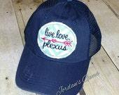 Live, Love, Plexus Embroidered Raggy Patch Trucker Hat
