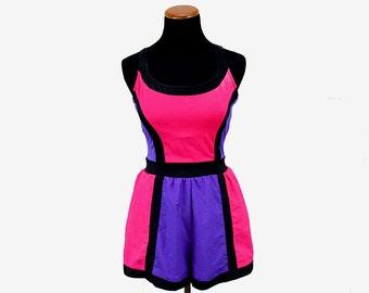 Vintage Neon 90s S/M Swimsuit - 90s Vintage Swim Dress - 90s Work out Clothes - Vintage Swimsuit Medium - Pink Black Purple