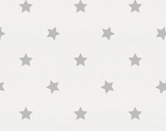 Silver Gray Stars Organic Fabric - By The Yard - Girl / Boy / Gender Neutral