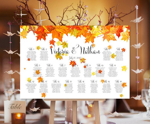 Seating Chart Plan Fall Leaves Autumn Or By Weddingtemplates