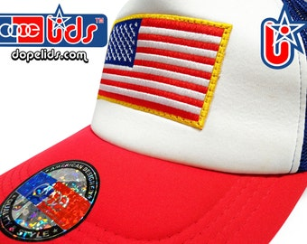 USA American Flag Trucker Hat Cap with Embroidered Patch Badge 4 Colors Inside