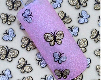 glitter butterfly nail stickers decals nail art water decals, Nail Water Decals Transfers Wraps