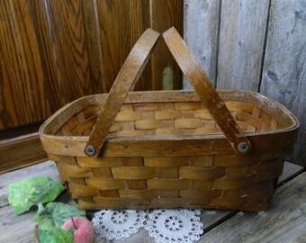 Vintage 2 Handled Market Basket - Primitive
