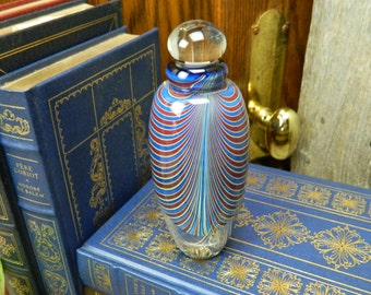 Vintage Signed and Dated Handcrafted Art Glass Perfume Decanter Perfume Bottle