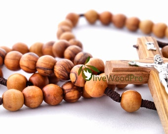 First Confirmation Olive Wood Rosary Beads Handmade Certification Holy Land