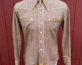Late 30s / Early 40s Nathan Turk Wool   Check Western Shirt With Cod Piece S