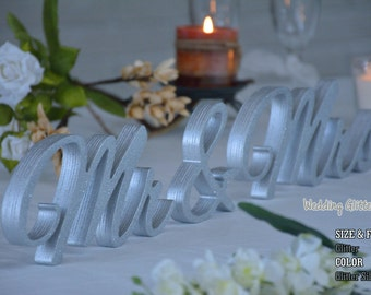 Glitter Dust Gold Mr and Mrs, Wall Decorations, Plum Sign Mr & Mrs,