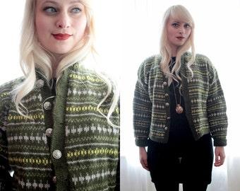 Vintage European handknit folk wool sweater cardigan Nordic Fair Isle silver buttons moss green yellow boho