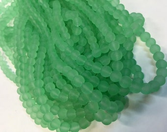 Frosted Glass Beads, Light Pastel Green, 8 mm, 56 Beads, Value Beads, Great for any Beading Project #0060