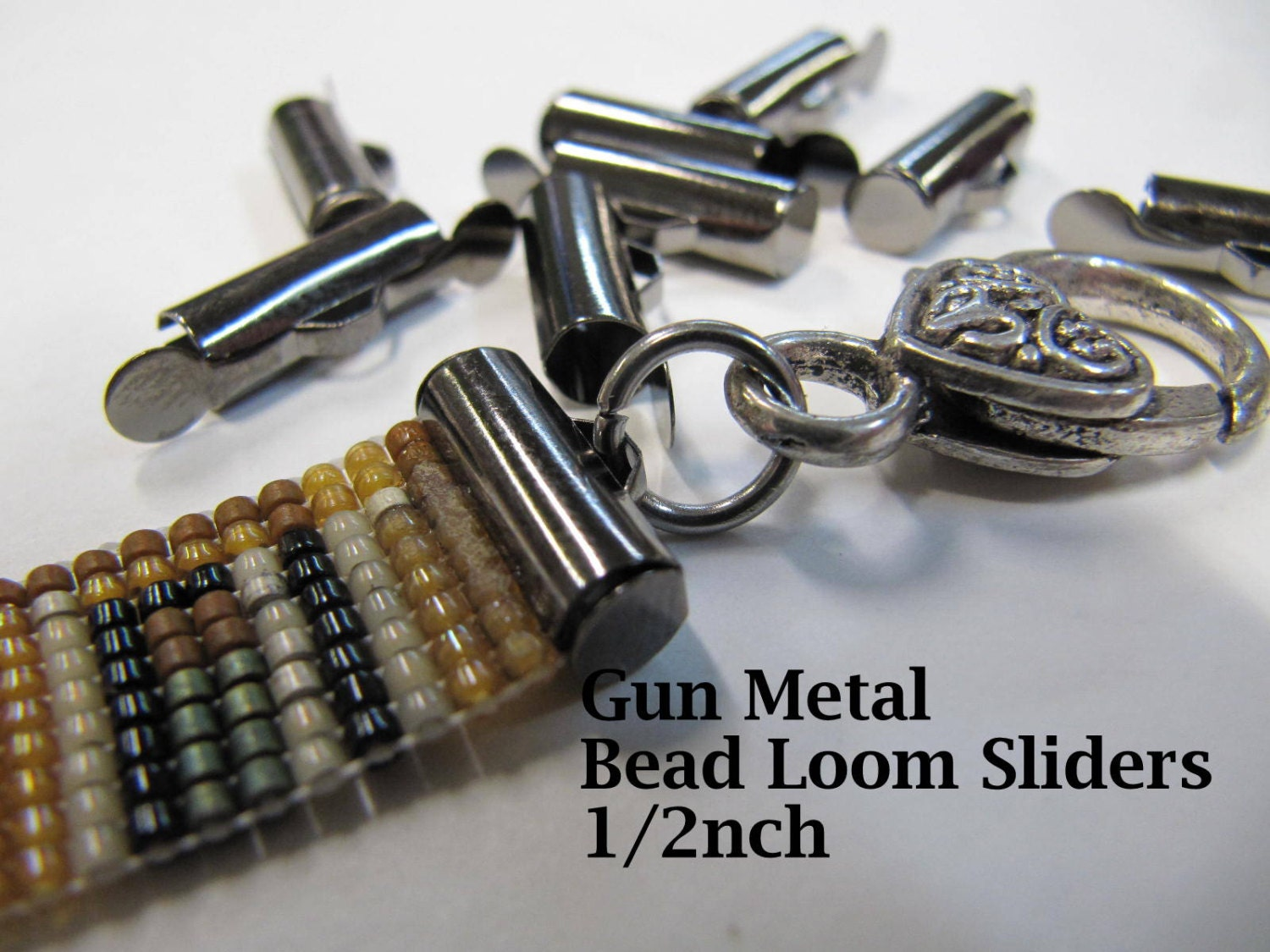 End Caps Slider Clasps, 1/2 Inch, Gun Metal Color, Loom Bead Patterns, Loom Findings, 10 Pack, Look Is Clean and Neat. Limited Supply!