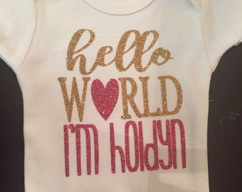 Hello World Personalized Onsie