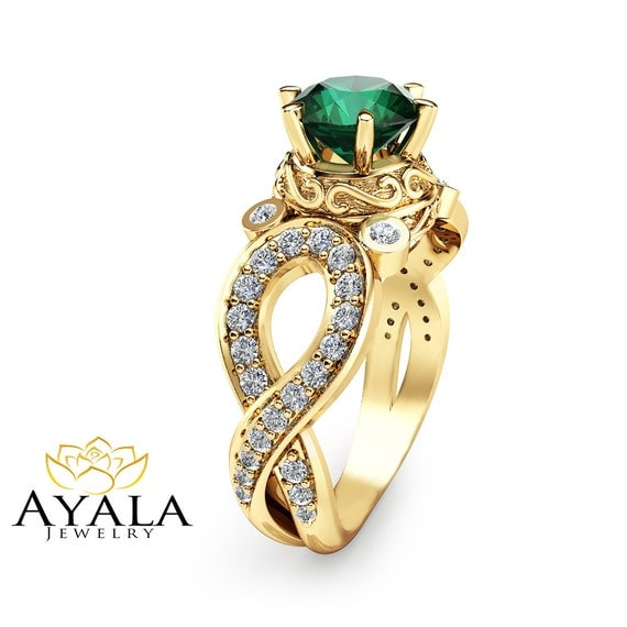 Unique Emerald Engagement Ring 14K Yellow Gold Emerald Ring