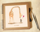 Photo album - Kraft square scrapbook with illustration, customizable, baby book, birth, birthday, baptism