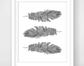 30% OFF SALE  Grey Feather Print, Feather Art, Printable Wall Art, Grey Wall Decor,Instant Download, DigitalArt,  Single Feathers, Feathers