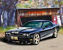 Auto Art - Muscle Car Print - 2013 Dodge Challenger SRT8 - 392 Hemi - Hot Rod Art - Giclee Print - AW4