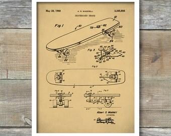 Skateboard Brake Patent Print, Skateboard Poster, Skater Art, Skateboard Decor, Vintage Skateboard, P261