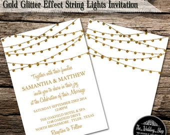 "Instant Download: 5"" x 7"" Romantic Gold Glitter Effect String Lights Printable DIY Wedding Invitation Editable PDF Template"