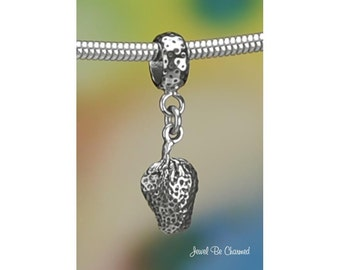 Sterling Silver Strawberry Charm or European Style Charm Bracelet .925