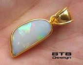 Australian Opal Pendant - set in 925 Sterling Silver - with 24 kt Gold Vermiel - Gemstone Pendants - Colorful Opal Pendant - FREE Shipping