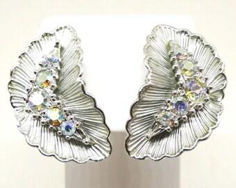 Rhinestone Earrings - Vintage, BSK Signed, Silver Tone, Aurora Borealis Rhinestones, Leaf Design Clip-on Earrings