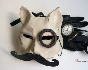 Meowvellous moustache, Venetian cat mask. British style mask with moustache and monocle.