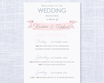 Wedding Weekend Itinerary / Welcome Gift Bags / Wedding Details / Information Card / Wedding Welcome Letter / #315