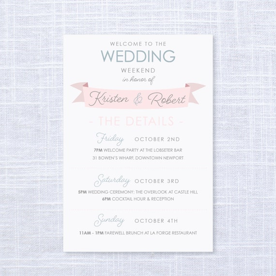 Wedding Gift Bag Letter : Wedding Weekend Itinerary / Welcome Gift Bags / Wedding Details ...