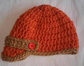 Crochet baby boy hat, crochet cap, newspaper boy hat, crochet newborn photo prop, photography prop, baby boy hat, boy hat, boys