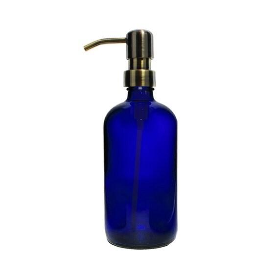 Blue Glass Soap Dispenser Cobalt Glass Eco By