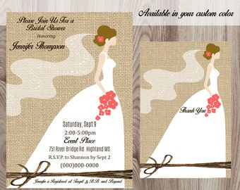 Burlap and Twine Bride Silhouette  Bridal Shower Invitation DIY Printable
