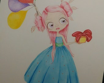 Balloons Girl Illustration Print