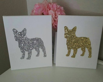 French bulldog glitter canvas