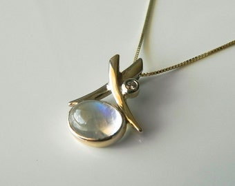 Two Tone Moonstone and Diamond Gold Pendant - 14kt White/ Yellow Gold Pendant AAA Rainbow Moonstone - Top Quality Moonstone Diamond Pendant