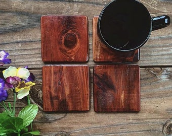 Handcrafted Wood Coasters Set Red Mahogany Stain