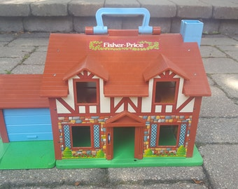 Vintage Toy Fisher Price Little People Dollhouse - Tudor Style 80s