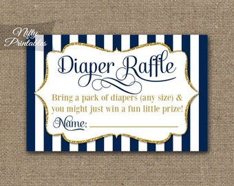 Navy Blue Diaper Raffle Tickets -  Baby Boy Shower Game - Printable Navy Blue Raffle Tickets - Boy Baby Diaper Shower Party - INSTANT - NGG