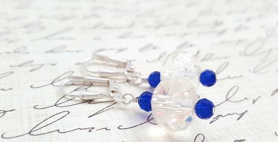 Dark Blue Glass Crystal Earrings - Dark Blue Drop Earrings - Blue Faceted Glass Earrings - Formal Earrings - Sparkling Dangle Earrings