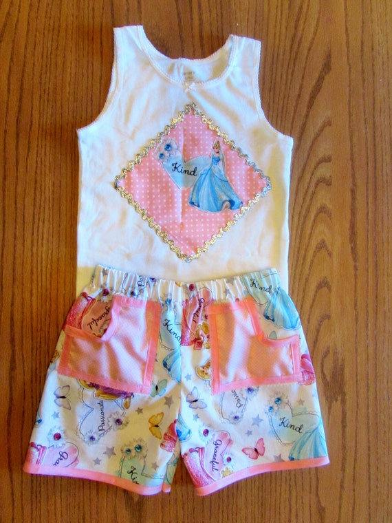 Princess outfit /shorts and tank top/ Cinderella, Repunzel, Sleeping Beauty/ Disney clothing set/Princess shorts/Princess tank top/Disney