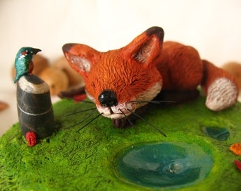 Little Fox and the Kingfisher - OOAK Sculpture